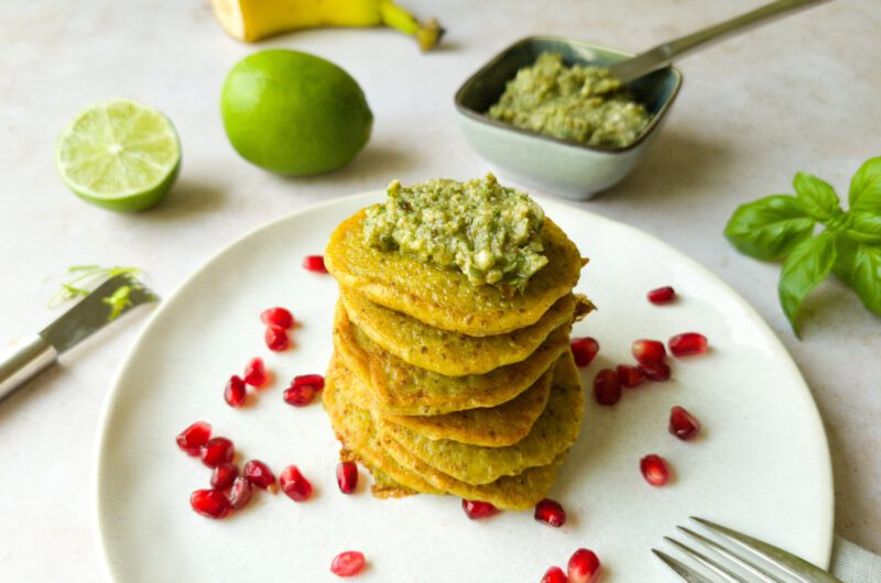 Sommerliche Pancakes mit  Basilikum-Kokos-Butter